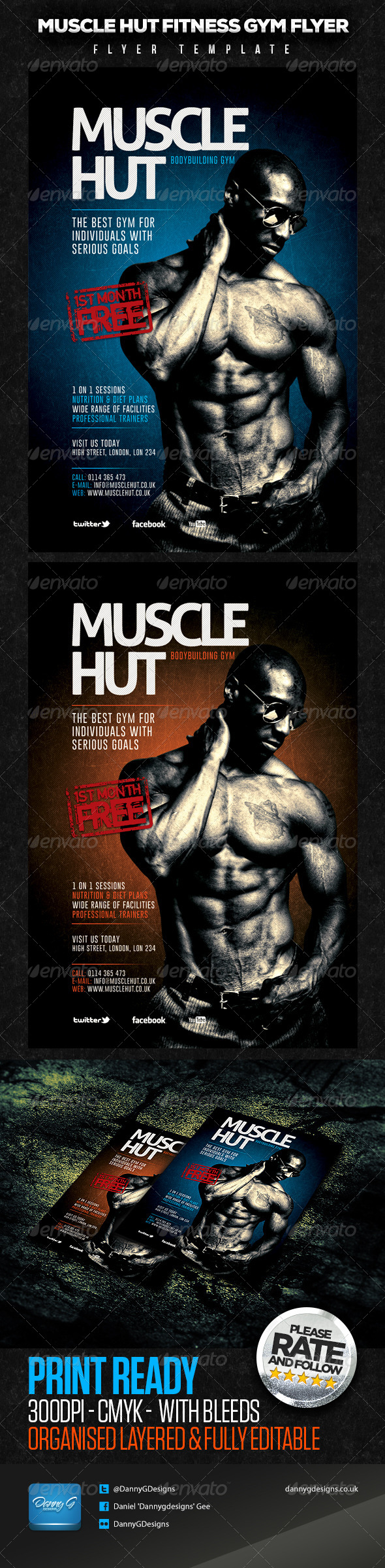 Muscle Hut Bodybuilding/Fitness Flyer Template  - Sports Events