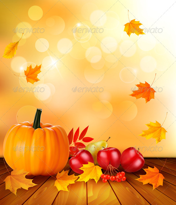 Autumn Background with Fresh Fruit and Leaves  - Seasons Nature
