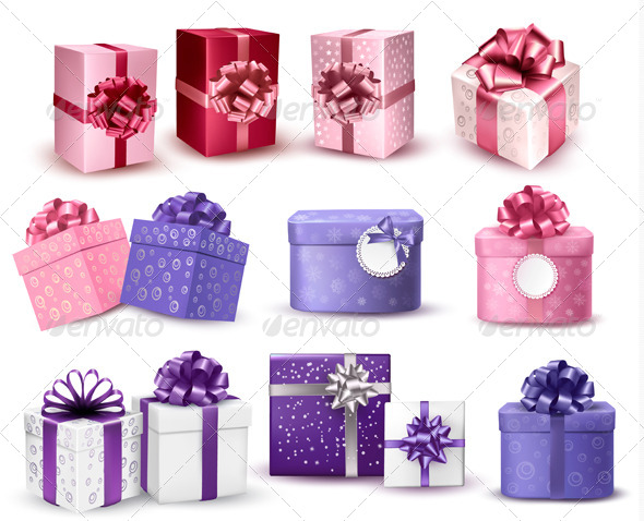 Set of Colorful Gift Boxes with Bows and Ribbons - Christmas Seasons/Holidays