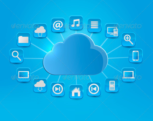 Cloud Computing Concept Background with Icons.  - Technology Conceptual