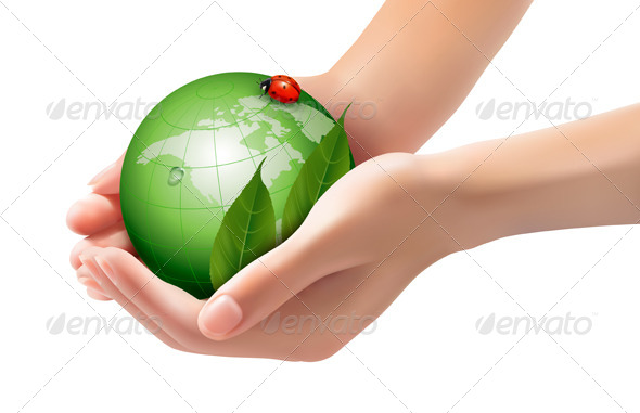 Green World and Leaf have Love Bug in Woman Hands. - Nature Conceptual