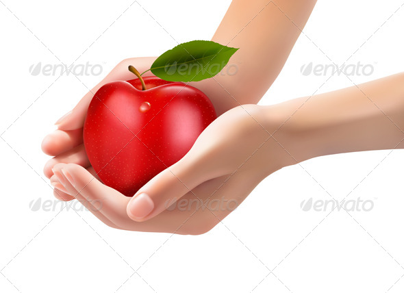 Red Ripe Apple in a Hands. Concept of Diet.  - Food Objects