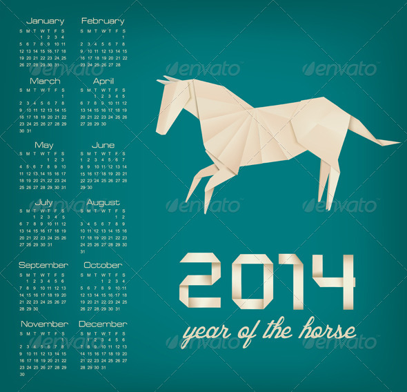 Retro Calendar for the New Year. Origami Horse - New Year Seasons/Holidays