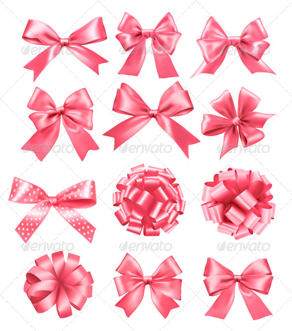 Big Set of Pink Gift Bows and Ribbons - Christmas Seasons/Holidays