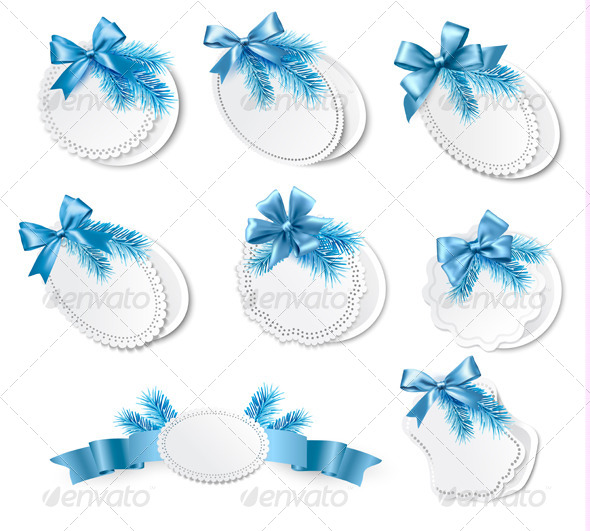 Set of Christmas Retro Labels with Blue Gift Bows - Christmas Seasons/Holidays