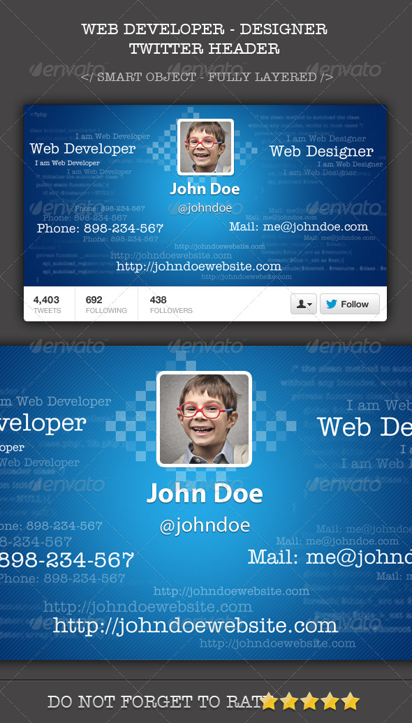 Web Developer Designer Twitter Header Cover - Twitter Social Media