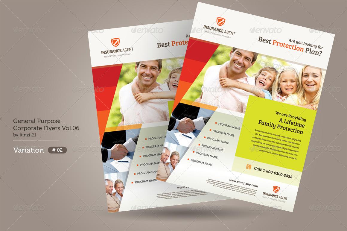 General Purpose Corporate Flyer Vol By Kinzi GraphicRiver - Insurance brochure template