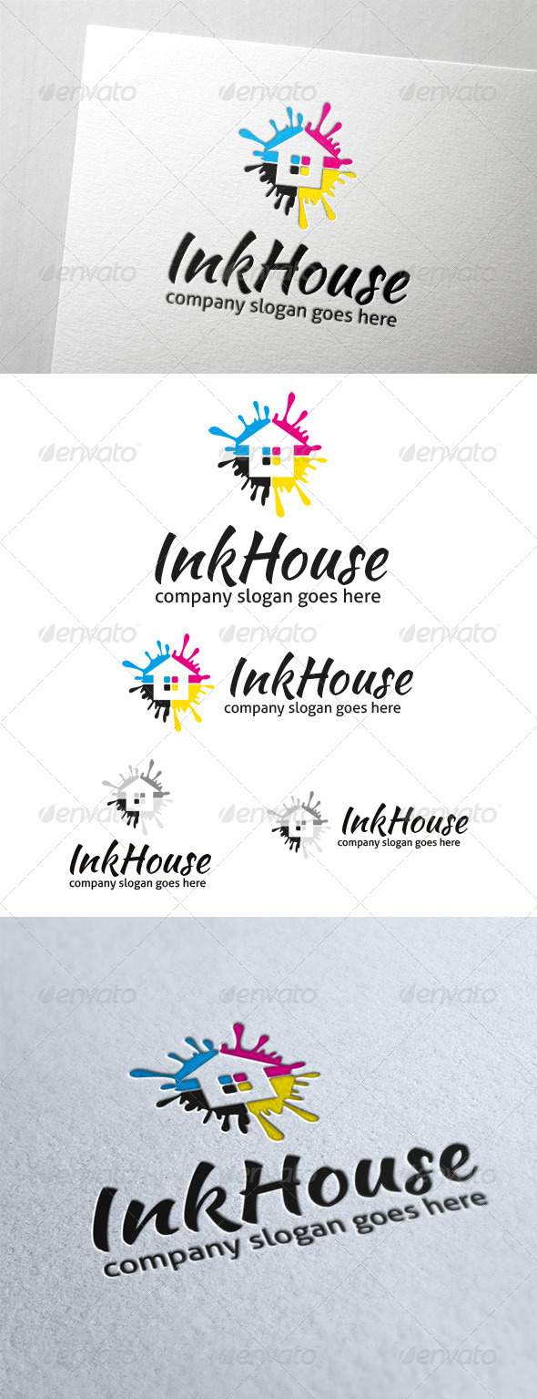 Ink House Logo - Buildings Logo Templates