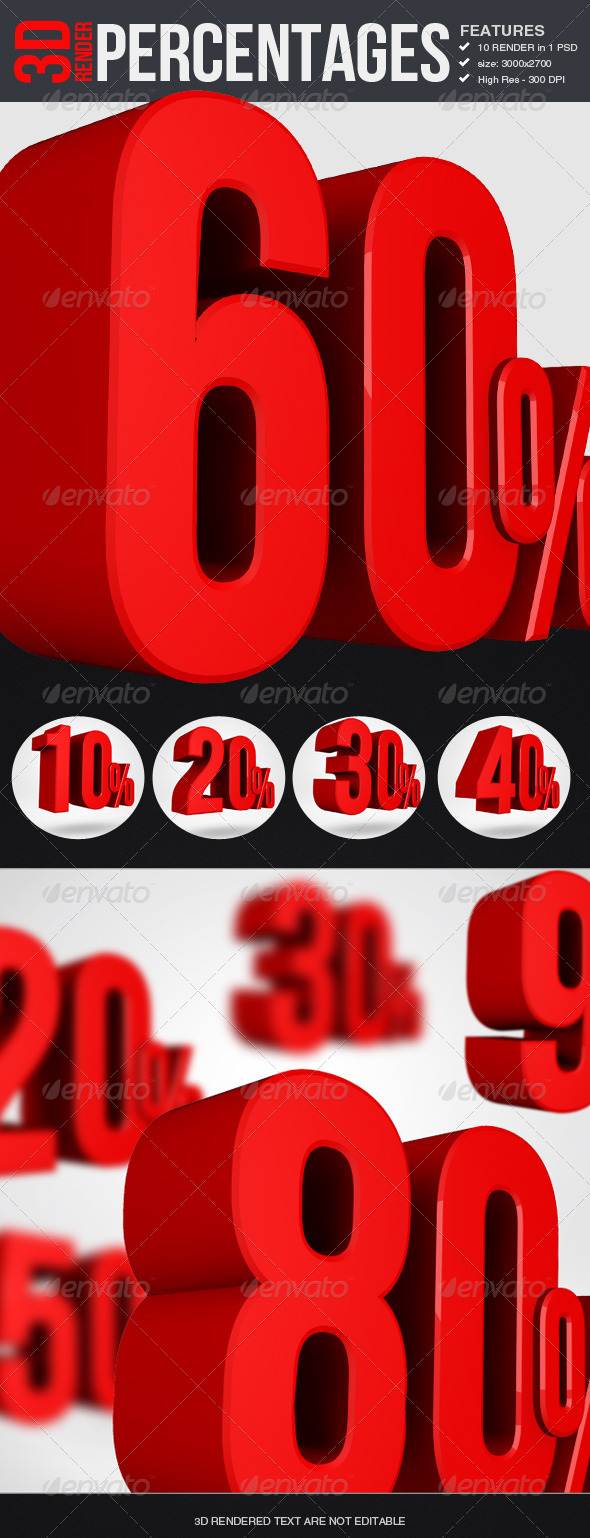 Percentages - 3D Render - Text 3D Renders