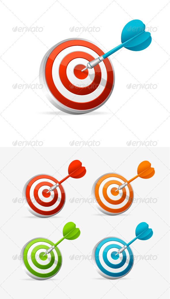 Dartboard with Dart. Colorful Set. - Sports/Activity Conceptual