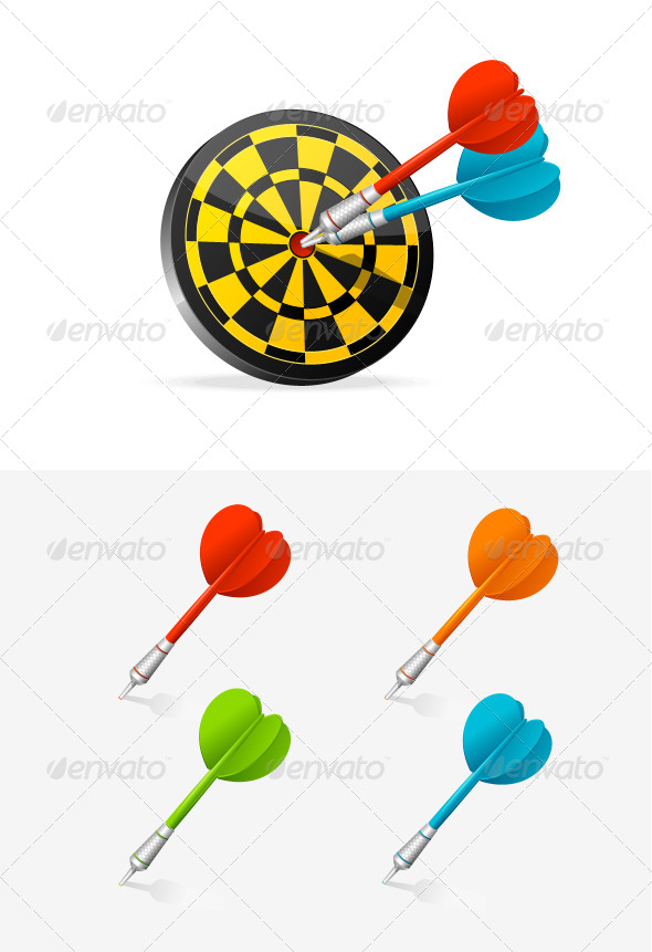 Classic Darts Board with Colorful Darts. - Sports/Activity Conceptual