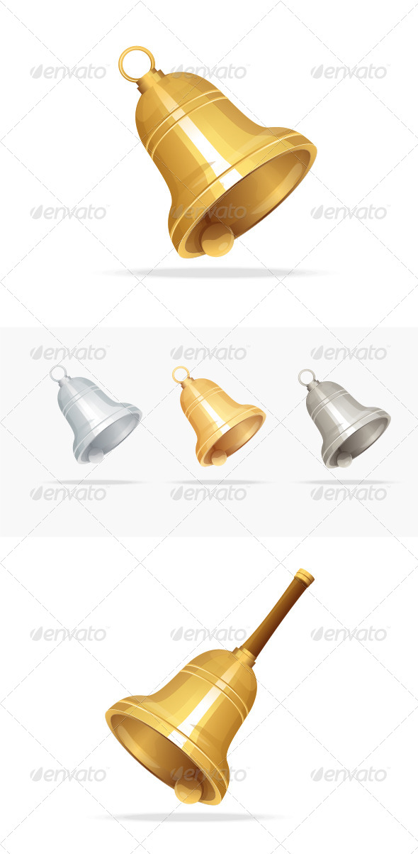 Christmas Bell Set on White Background - Christmas Seasons/Holidays