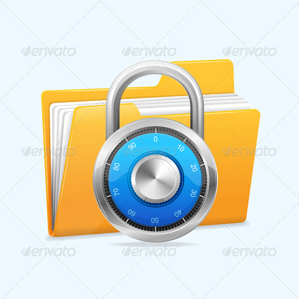 Yellow Computer Folder and Combination Lock.  - Concepts Business