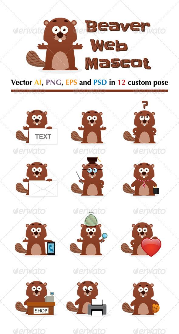 Beaver Web Mascot - Animals Characters