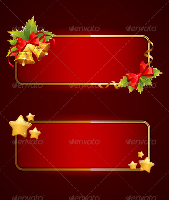 Christmas Blank Banners Set With Bells - Christmas Seasons/Holidays