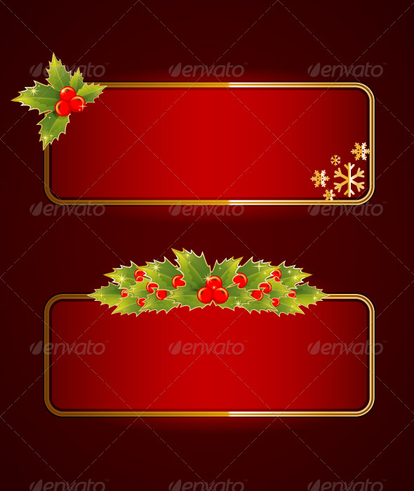 Christmas Blank Banners Set with Holly Berries - Christmas Seasons/Holidays