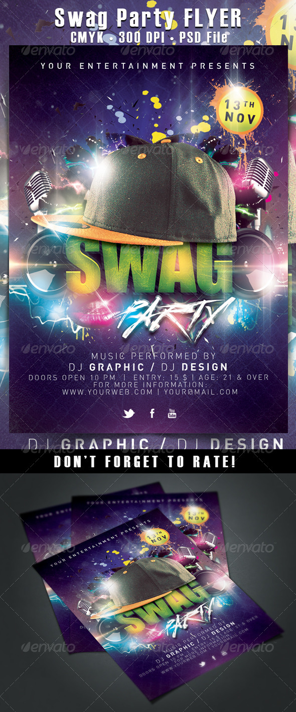 Swag/Hiphop Party Flyer - Clubs & Parties Events