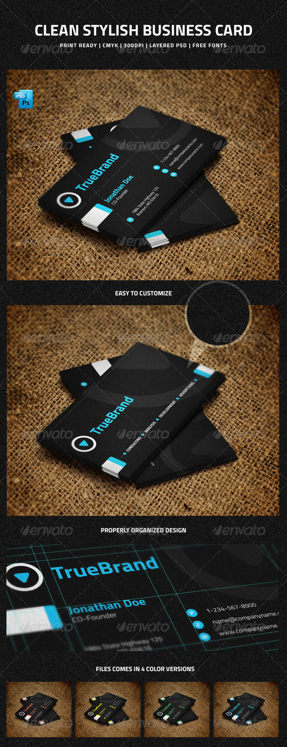 Clean Stylish Business Card - 3 - Corporate Business Cards