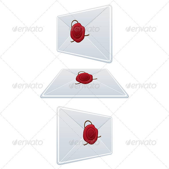 Set Envelope with Wax Seal - Objects Vectors