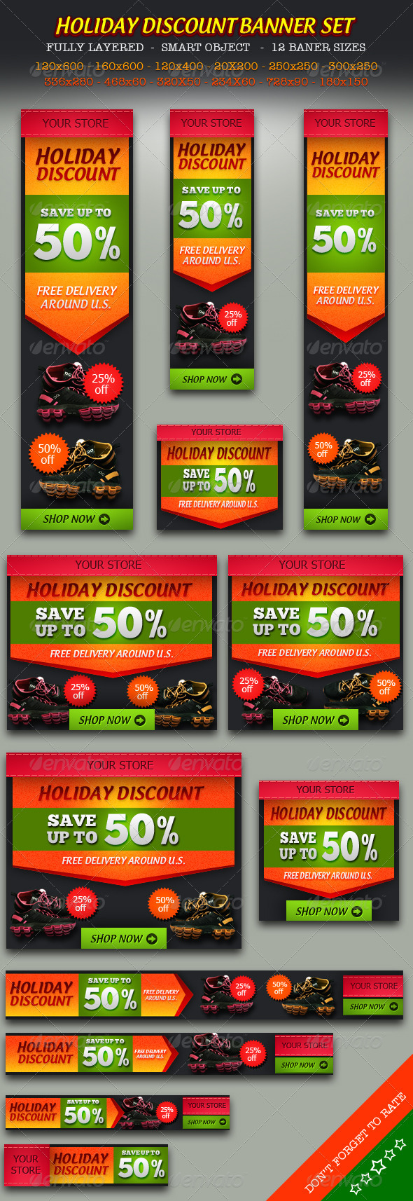 Holiday Discount Online Store Banner ad Set - Banners & Ads Web Elements