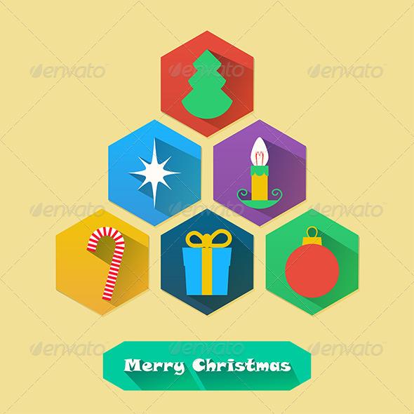 Flat Christmas Icons - Christmas Seasons/Holidays