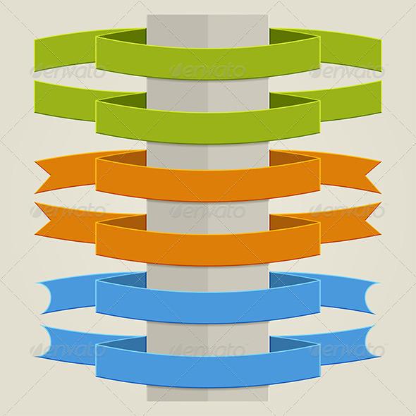 Flat Ribbons - Objects Vectors