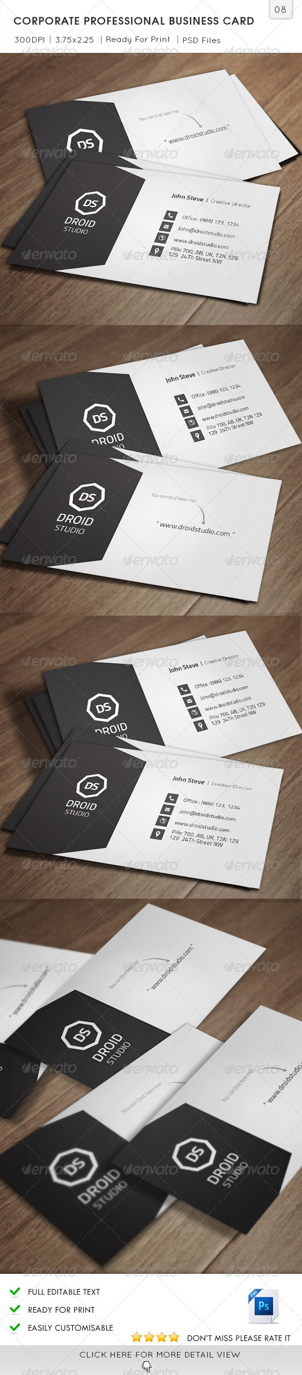 Corporate Professional Business Card v08 - Corporate Business Cards