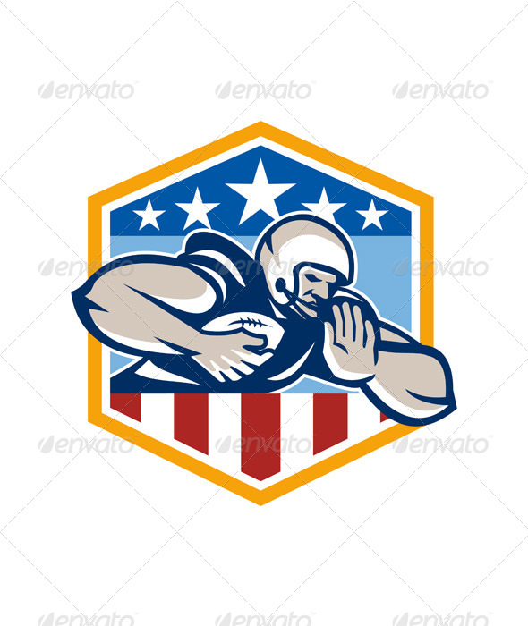 American Football Running Back Fend-Off Crest - Sports/Activity Conceptual