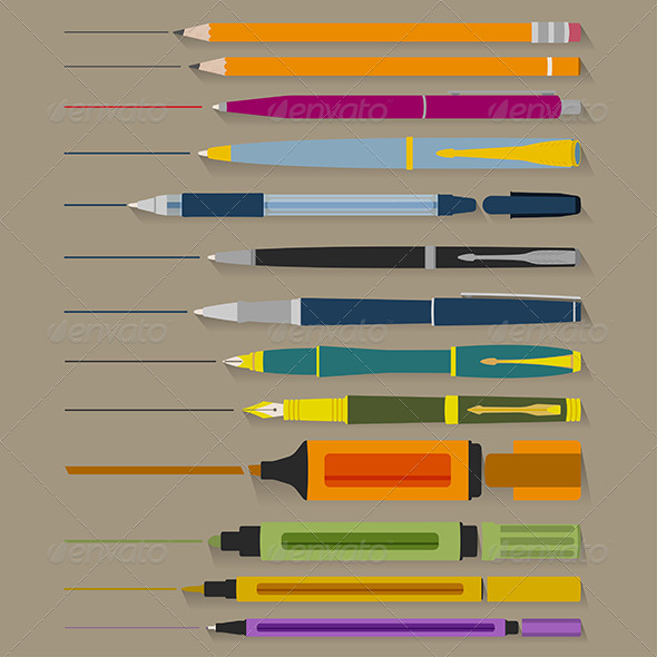 Set of Pencils Pens and Markers - Man-made Objects Objects