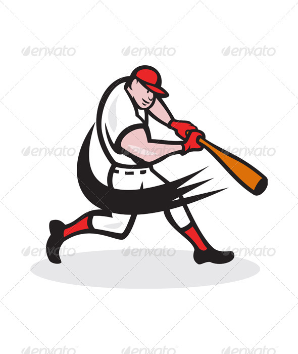 Baseball Player Batting Isolated Cartoon - Sports/Activity Conceptual