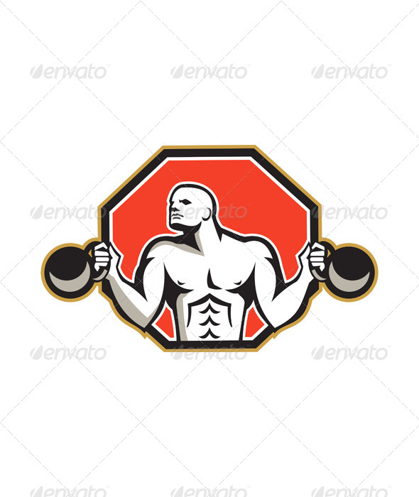 Strongman Lifting Kettlebell Front Retro - Sports/Activity Conceptual
