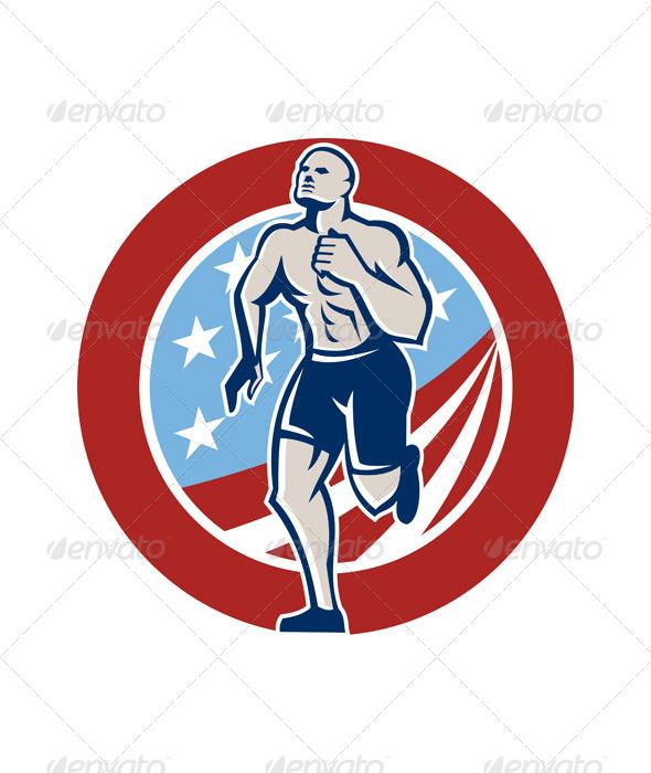 American Crossfit Runner Running Retro - Sports/Activity Conceptual