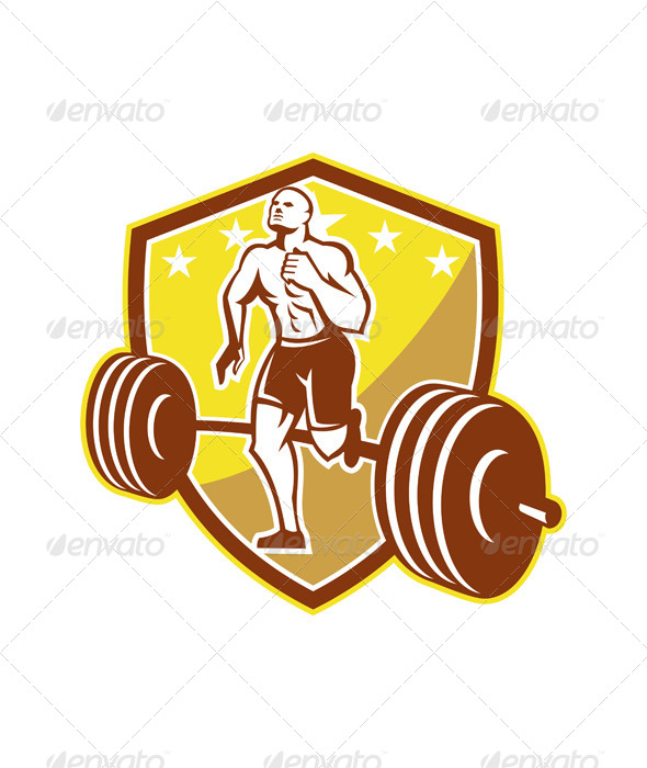 Crossfit Athlete Runner Barbell Shield Retro - Sports/Activity Conceptual