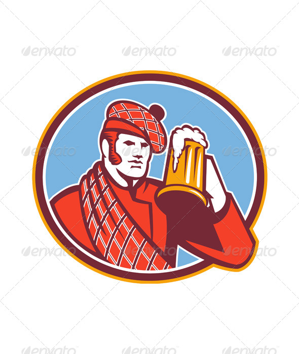 Scotsman Beer Drinker Mug Retro - People Characters