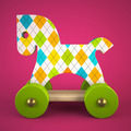 wood toy horse on purple background - PhotoDune Item for Sale