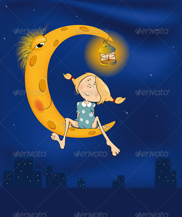 The Girl and the Moon Cartoon  - People Characters