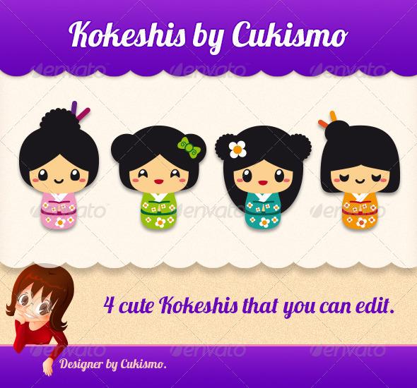 Cute Kokeshis - Characters Vectors