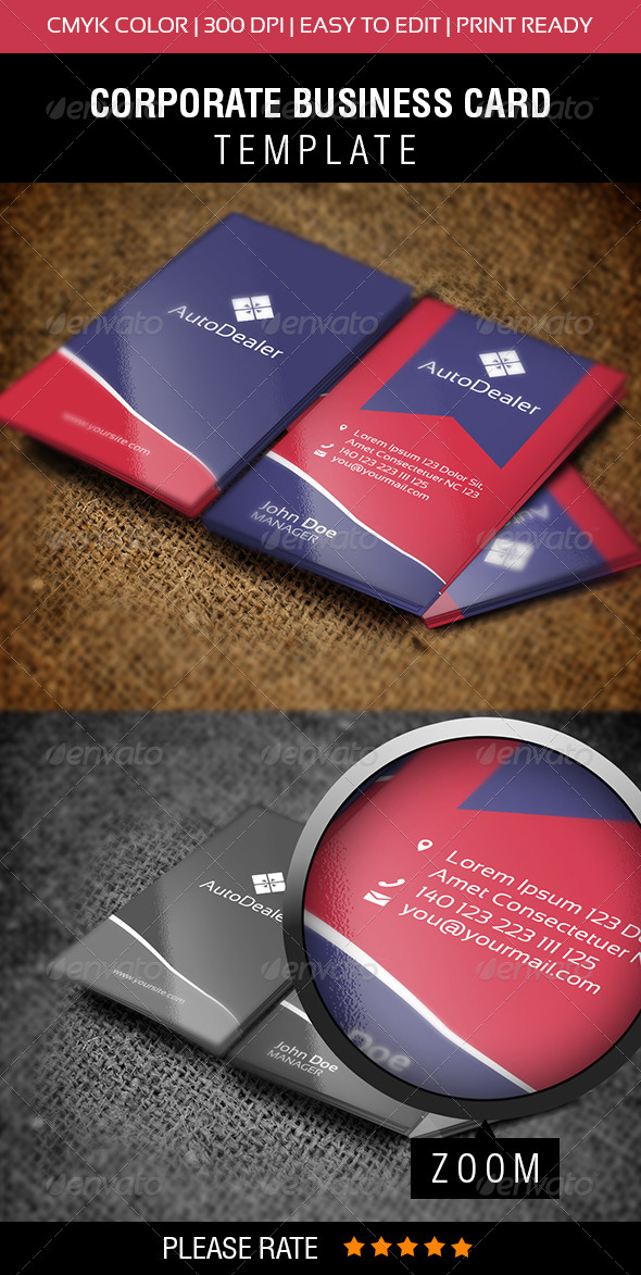 AutoDealer Business Card - Corporate Business Cards