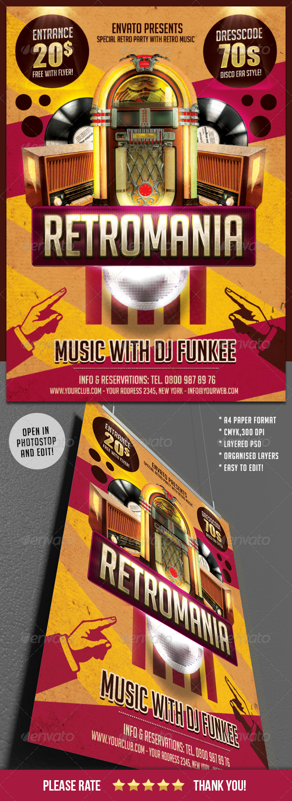 Retromania Party Flyer Template - Clubs & Parties Events