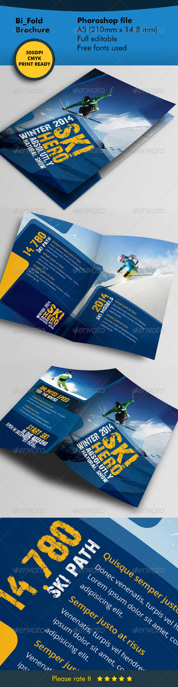 Winter Ski Bifold Template - Informational Brochures