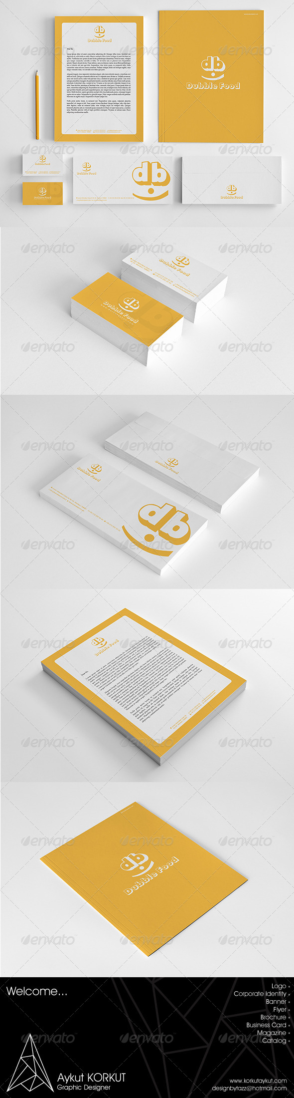 Dubble Food Corporate Identity Package - Stationery Print Templates