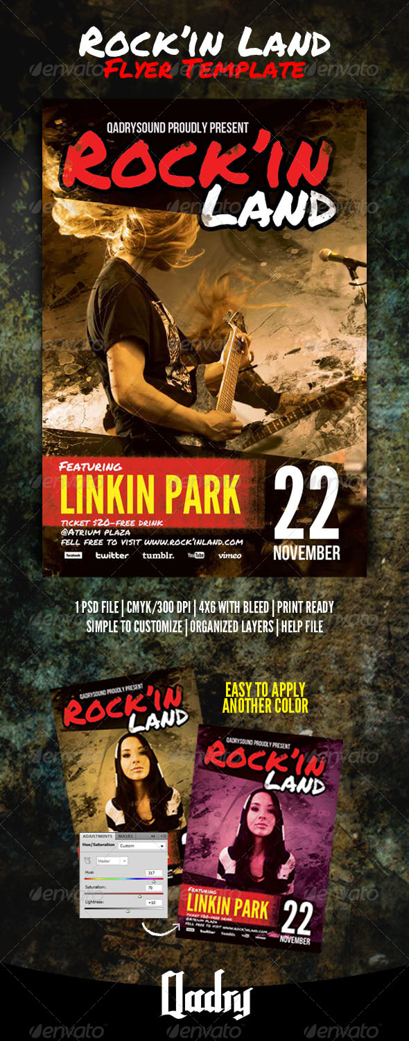 Rock'in Land Flyer Template - Clubs & Parties Events