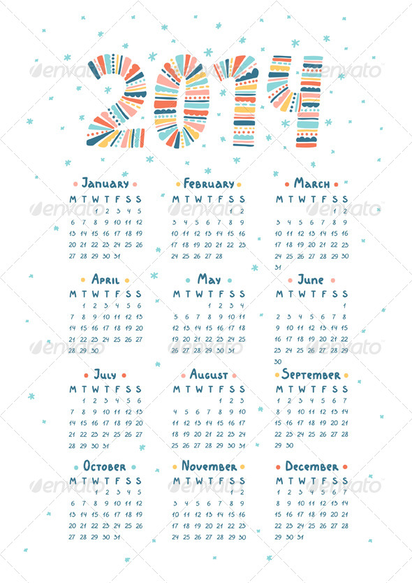 Calendar 2014 - Miscellaneous Vectors