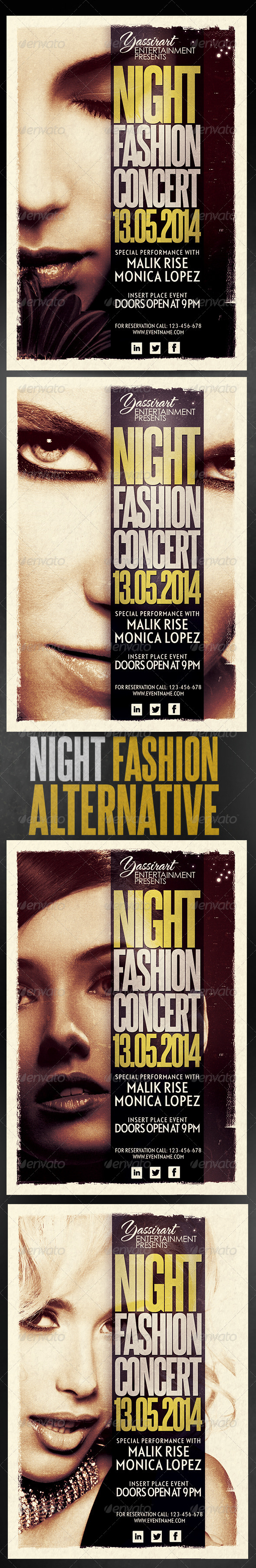 Night Fashion Concert Flyer Template - Clubs & Parties Events