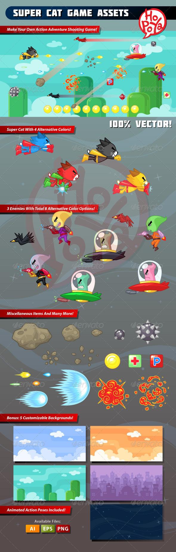 Super Cat Game Assets - Sprites Game Assets