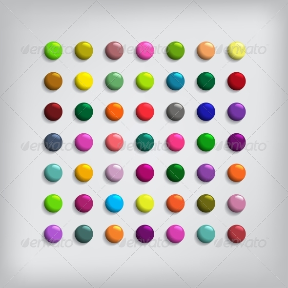 Set of Round Colorful Buttons - Web Elements Vectors