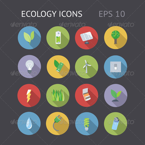 Flat Icons For Ecology - Technology Icons