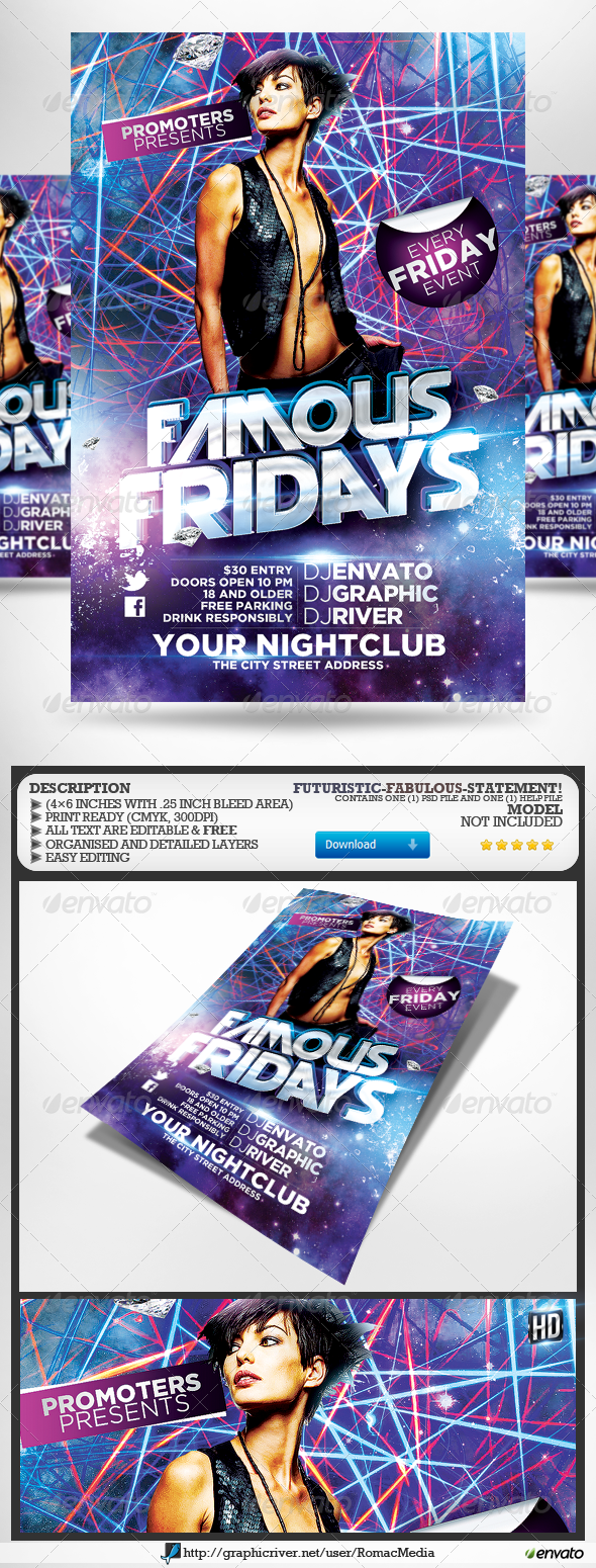 Famous Fridays Party Flyer - Clubs & Parties Events