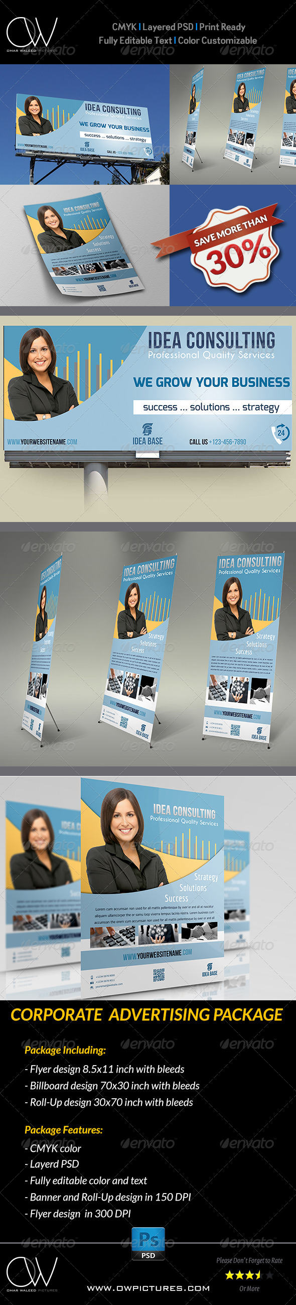 Corporate Advertising Bundle - Signage Print Templates