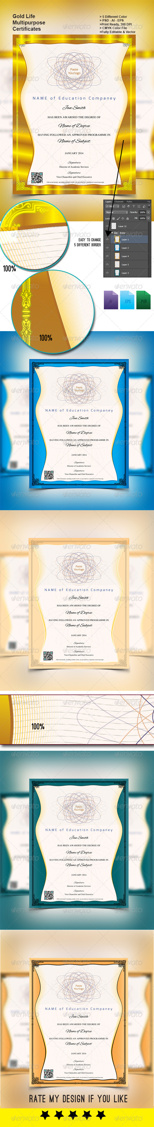 Gold Life Multipurpose Certificates 002 - Certificates Stationery